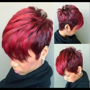 Short Pixie Cut Red w/ Black Base Synthetic Wig